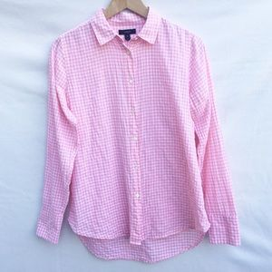 J.Crew gingham check coral pink button down shirt.